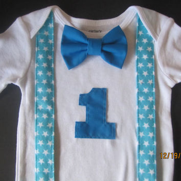 Boy White Blue Star Suspender Shirt Baby First Birthday Outfit
