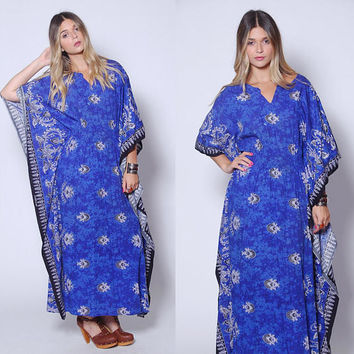 Vintage BATIK Caftan Boho Maxi Dress Blue BUTTERFLY Sleeve Hippie Dress Cotton Printed Caftan