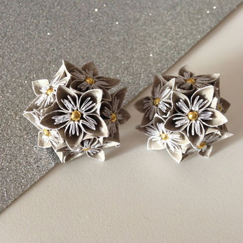 LARGE ORIGAMI EARRINGS - Dark Grey Multi Flower Earrings -  Bridesmaids, Wedding fashion, Handmade, Floral Jewelry, Gifts for Her