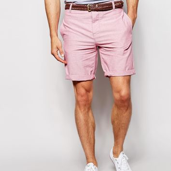 River Island Oxford Shorts with Plaited Belt