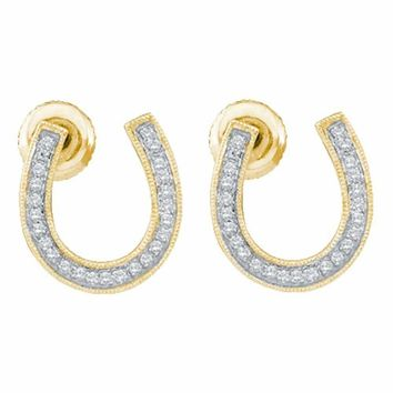 10kt Yellow Gold Women's Round Diamond Horseshoe Screwback Stud Earrings 1-6 Cttw - FREE Shipping (USA/CAN)