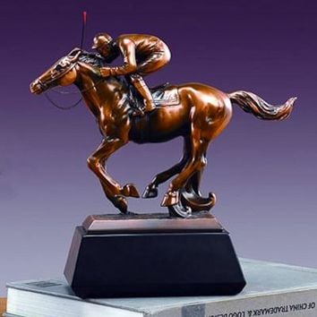 Jockey on Horse - Bronze Figurine - 10""