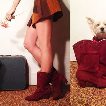 Vintage 60s 70s Ruby Suede Sandler Of Boston Mod Boots || Size 9 Mint Condition Red Penny Lane Maroon Suede