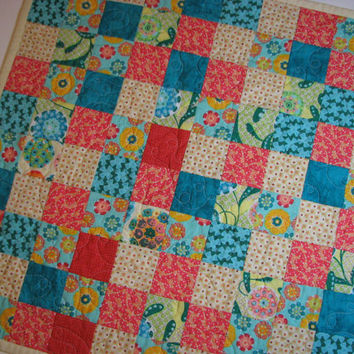 Square Quilted Table Topper--Blue and Coral, Reversible
