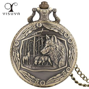 Necklace Pocket Watch Men Women Steampunk Chain Wolf Pattern Retro Style Roman Numerals Quartz Fob Watch Clock