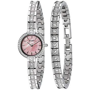Bulova Ladies Crystal Watch & Bracelet Set - Pink Mother of Pearl Dial