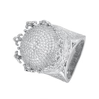 Iced Out 14k White Gold Finish 3D Solitaire Puffed Anchor Ring
