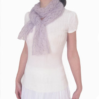 Lavender Lace Scarf, Light Purple Women Neckwarmer, Rectangular, Gift, Silk Mohair, FREE SHIPPING, Hand knit, Original Design