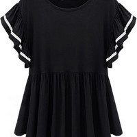 Black Ruffle Sleeve Pleated Mini Dress with White Details