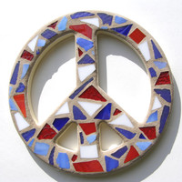 10 inch Mosaic Stained Glass Peace Sign Red White Blue Peace Sign Wall Art Patriotic Decor  Mosaic Art  Hippie Decor  60's Retro Decor