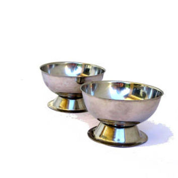 Vintage metal dessert bowls. Pedestal ice cream cups. Two available.