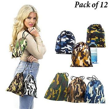 Adorox Pack of 12 Camouflage BAGS Polyester Drawstring Bags Loot Sack Party Favors
