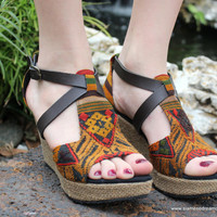 Laos Embroidered Vegan Womens Sandals Faux Leather Straps Wedge Heel