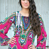 Magenta Skies Tribal Print Dress