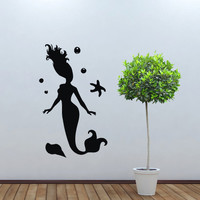Wall decal decor decals art mermaid sea tail ocean girl water room bedroom (m1026)