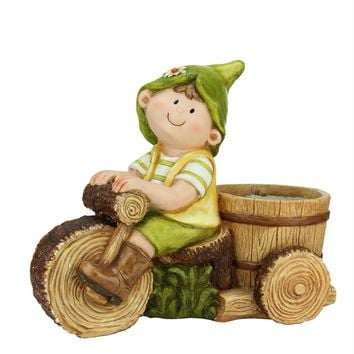 """16.25"""" Young Boy Gnome Riding Bicycle with Flower Pot Outdoor Garden Patio Planter"""