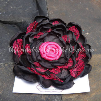 Black and Hot Pink Satin Fabric Flower Hair Clip OR Brooch Pin with Pink Rosette Center and Pink Lace Accents