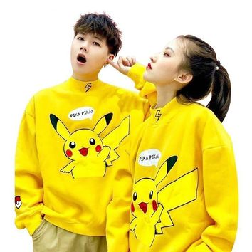2018  Pikachu Print Unisex Men Women Autumn Hoodies Slim Sweatshirt for Couple Lovers Winter Cute Lovely Warm PulloversKawaii Pokemon go  AT_89_9