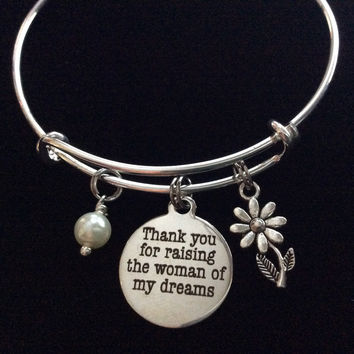Thank you for Raising the Woman of My Dreams Expandable Charm Bracelet Bangle Mother in Law Meaningful Wedding Gift