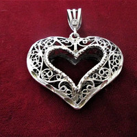 Sterling Silver Heart Pendant Marked PK SS Ornate Diamond Cut Vintage Jewelry Gift