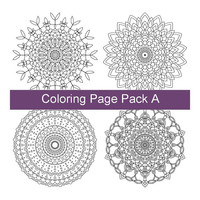 Four Adult Coloring Pages - PDF Printable Drawings - Intricate Mandala Art - Pack A - Instant Downloads