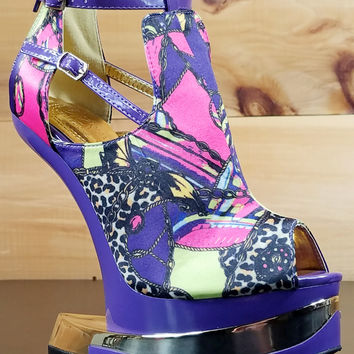 Aymor Purple Satin Multi Color Heel Less Open Toe Wedge Shoe