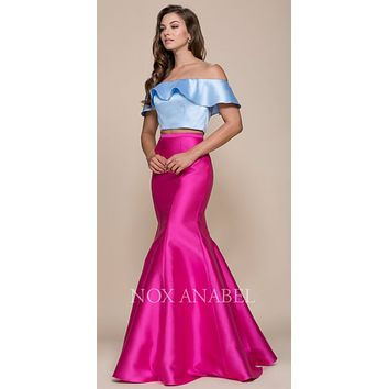 CLEARANCE - Fuchsia-Blue Off Shoulder Mermaid Two-Piece Prom Gown (Size 2XL)