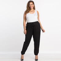 Plus size pants 5XL women fashion new elastic waist harem pants black casual long pants trousers SR2069