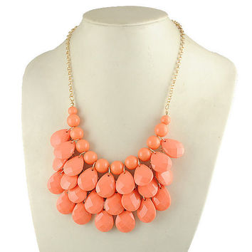 Bib Necklace coral orange j crew necklace  Statement  by room7070