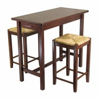3pc Kitchen Island Table with 2 Rush Seat Stools-Winsome Wood