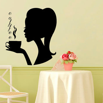 Coffee Wall Decal Coffee Cup Stickers Vinyl Decals Girl Art Mural Home Decor Cafe Interior Design Kitchen Sticker Living Room Decor KY48