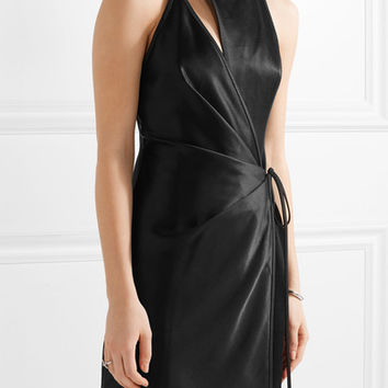 Alexander Wang - Wrap-effect cutout satin mini dress
