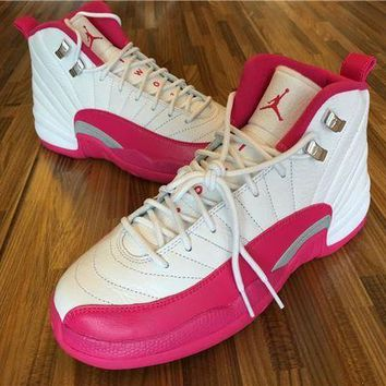 Air Jordan 12 Gs While/baby Pink Basketball Shoes 36-40 - Beauty Ticks
