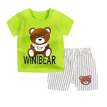 Summer 2018 short sleeve Baby's set cotton boys and girls  short sleeve baby set shorts two pieces o-neck Baby Clothing