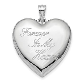 Sterling Silver 24mm 'Forever In My Heart' Ash Holder Heart Locket with Engravable Back