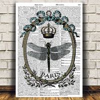Dragonfly art Dictionary print Nature print Insect poster RTA969