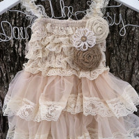 Rustic Flower Girl Dress-Lace Pettidress -Country Wedding-Farm Wedding-Shabby Chic Flower Girl Dress-Flower Girl