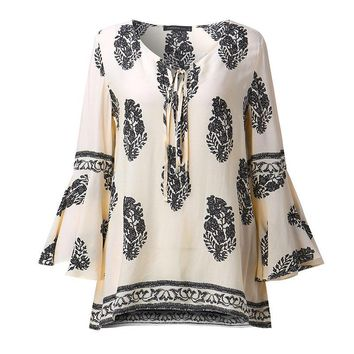 Womens Lace-Up V-Neck Shirt Big Size Floral Casual Loose Beach Blouse