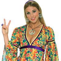 Hippie Peace Sign Necklace and Earrings