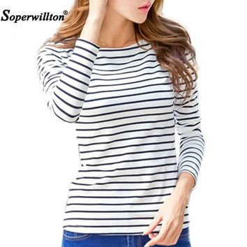 Soperwillton Cotton T-shirt Women 2018 New Spring Long Sleeve O-Neck Striped Female T-Shirt White Casual Basic Classic Tops #620