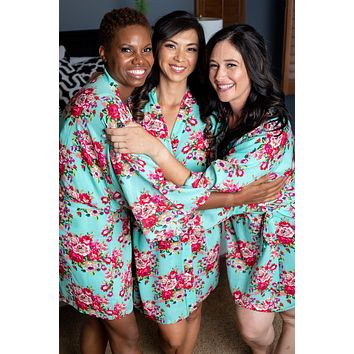 Mint Floral Kimono Bridesmaid and Flower Girl Robes