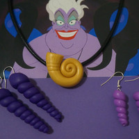 Disney Inspired Ursula Necklace and Earring Set - Perfect for cosplay, decoration, costume, or gift~