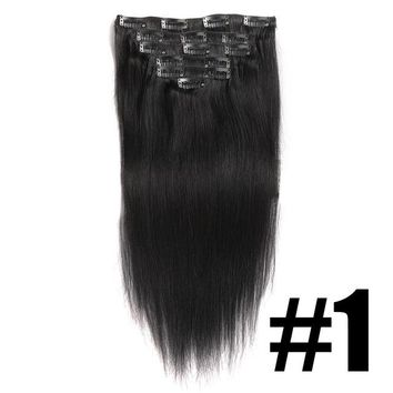 Clip In Hair Extensions Straight 100% Human Hair Color #1#2#4#613 Remy Hair 7PCS  100G