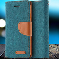 Magnetic Leather Cloth Touch Flip Case For Apple iPhone 6 6S 4.7/For iPhone 6 6S Plus 5.5 Vintage Wallet Cover With Logo