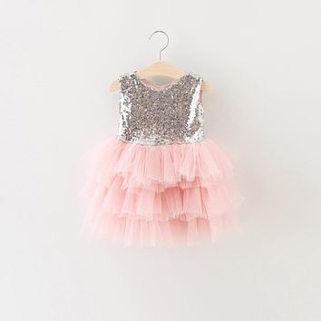 Summer Girl Baby Dresses Cute Sequin Fabric First Birthday Party Dresses for Girl Children Clothing Toddler Baptism Clothes