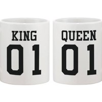 King 01 Queen 01 Couple Mug Set Matching Ceramic Cups Cute gift idea for couple