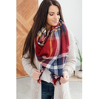 Classic Plaid Blanket Scarf-Red/Navy/White