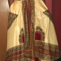 """NWOT African Long Dashiki Maxi /Pockets Ankara Elastic Waist One size fit MOST (Sz M-1X) with pockets/  African material""""/Cream Red Skirt"""