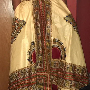 "NWOT African Long Dashiki Maxi /Pockets Ankara Elastic Waist One size fit MOST (Sz M-1X) with pockets/  African material""/Cream Red Skirt"