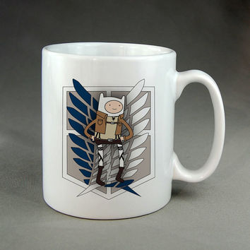 adventure time attack on titans,coffee mug,tea mug,ceramic mug